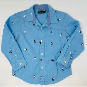 Nautica boys blue sailboat button down shirt sz 4